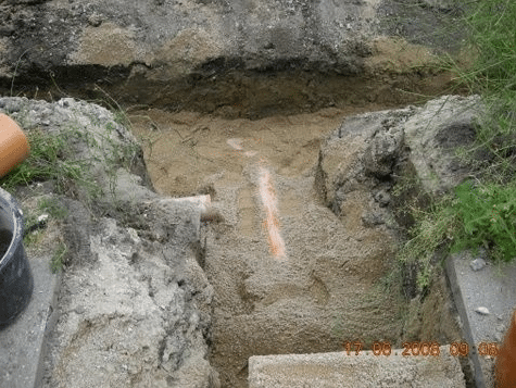 Kloakarbejde Næstved, Herlufmagle, fyldt sand ned i hullet